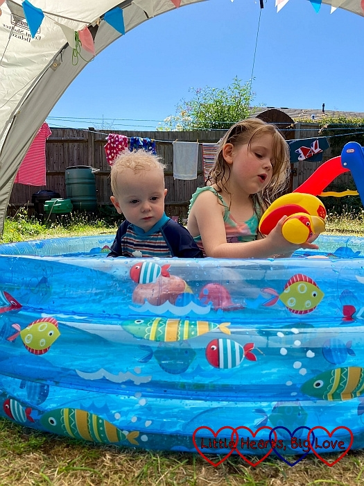 Thomas and Sophie in the paddling pool