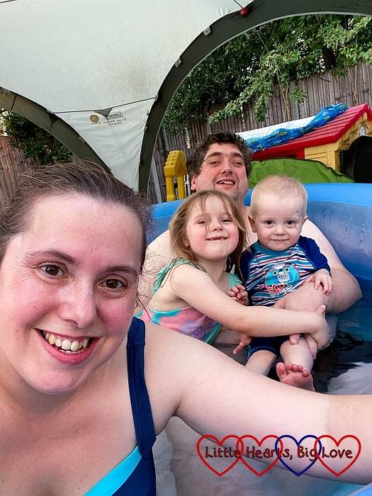 Me, hubby, Sophie and Thomas in the birth pool in the garden