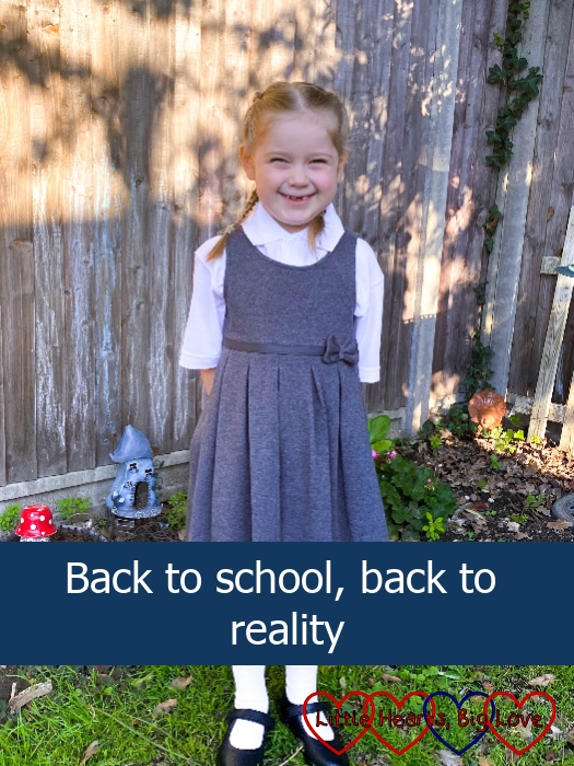 """Sophie in the garden ready for her first day back at school - """"Back to school, back to reality"""""""