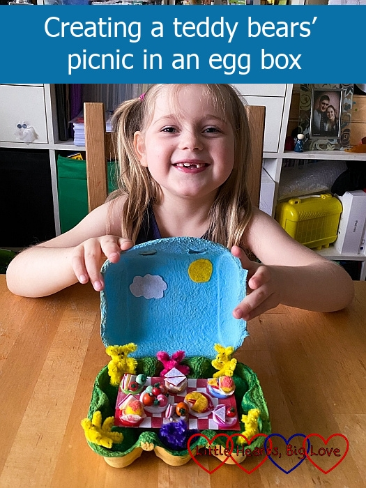 """Sophie with a teddy bears' picnic scene in an egg box - """"Creating a teddy bears' picnic in an egg box"""""""