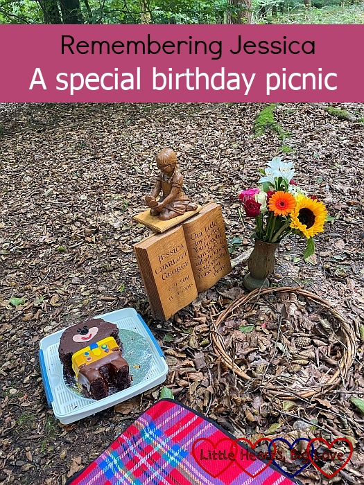 "A Hey Duggee cake, picnic blanket and flowers at Jessica's forever bed - ""Remembering Jessica: a special birthday picnic"""