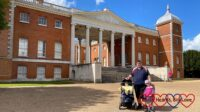 Daddy, Sophie and Thomas standing outside Osterley House