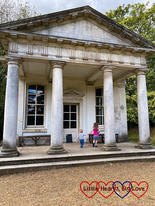 Thomas and Sophie at the Temple of Pan in Osterley Park