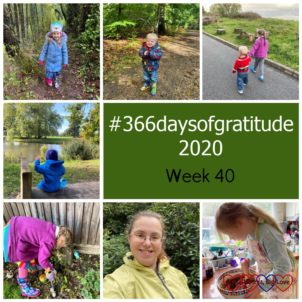 """Sophie in the woods; Thomas in the woods at Black Park; Sophie and Thomas walking hand-in-hand outside the leisure centre; Thomas sitting facing the lake at Langley Park; Sophie digging in the garden; me in my new yellow waterproof jacket; Sophie stirring brownie mix - """"#366daysofgratitude 2020 - Week 40"""""""
