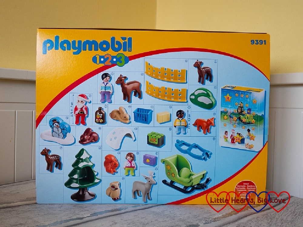 The outer sleeve of the Playmobil 1.2.3 calendar showing the contents
