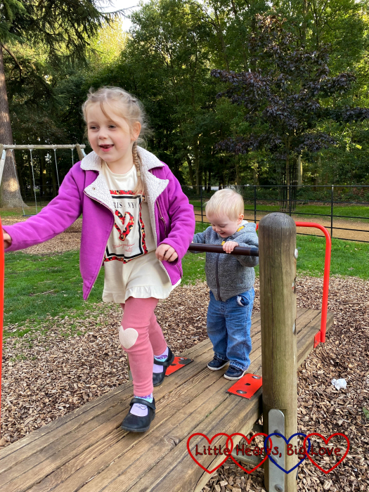 Sophie and Thomas on the seesaw at Langley Park