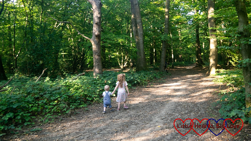 Sophie and Thomas walking hand-in-hand through Bayhurst Wood