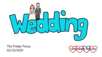 The word 'wedding' in aqua with a cartoon bride and groom on top of the 'ed'