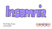 The word 'insomnia' in lilac