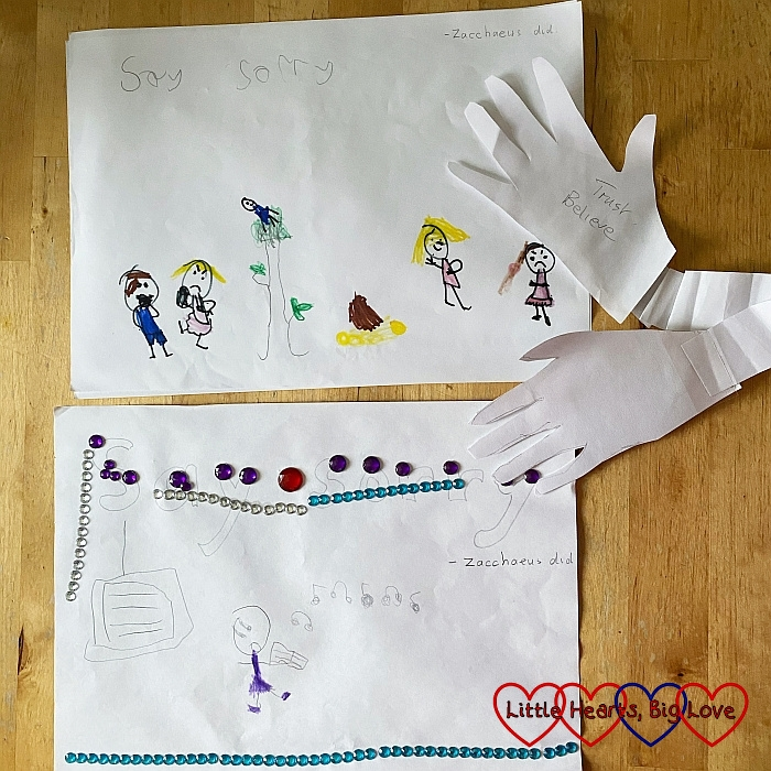 Two of Jessica's drawings from Junior Church and a cut out of her hands