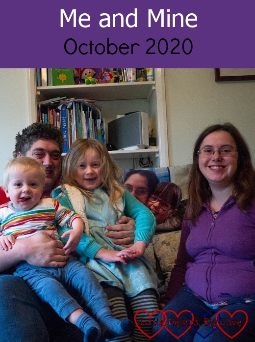 """Thomas, Daddy, Sophie and me with Jessica's cushion behind us on the sofa - """"Me and Mine - October 2020"""""""