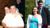 (l) Me and my husband when we first got together; (r) me and my husband at my sister's wedding last month
