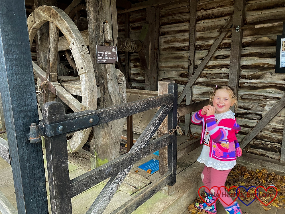 Sophie standing next to the well head at Chiltern Open Air Museum