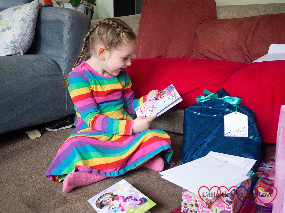 Sophie reading one of her birthday cards