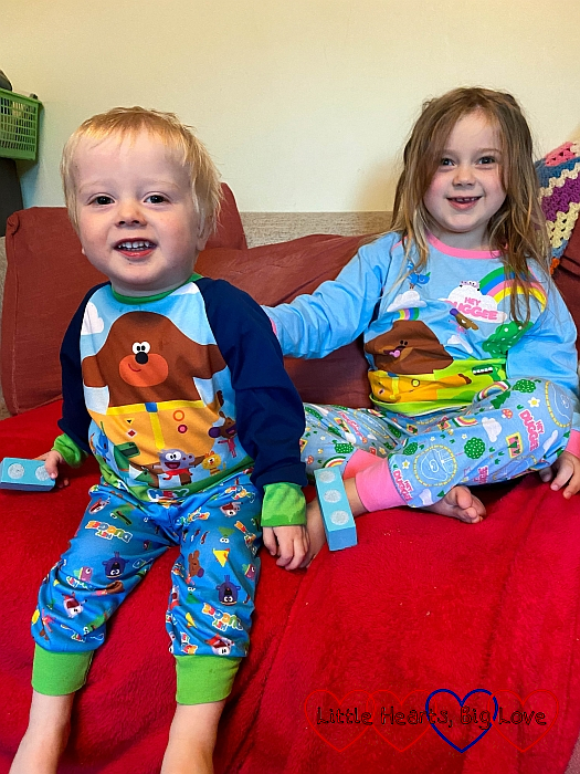 Sophie and Thomas wearing 'Hey Duggee' pyjamas
