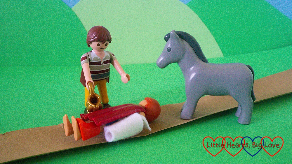 The good Samiritan recreated in Playmobil
