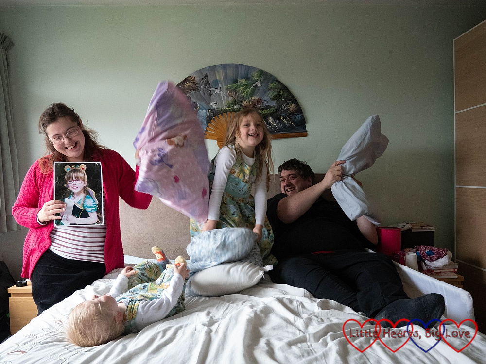 Me (holding a photo of Jessica), Sophie, Thomas and Daddy having a pillow fight