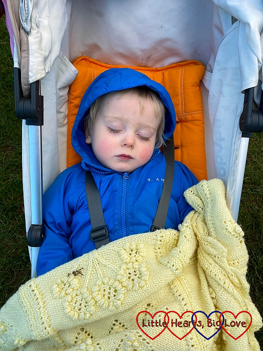 Thomas fast asleep in his buggy