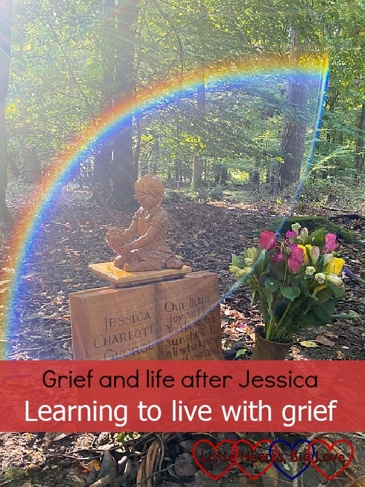 """The carving of Jessica at her forever bed with a ray of sunshine making a rainbow arc around it - """"Grief and life after Jessica: Learning to live with grief"""""""