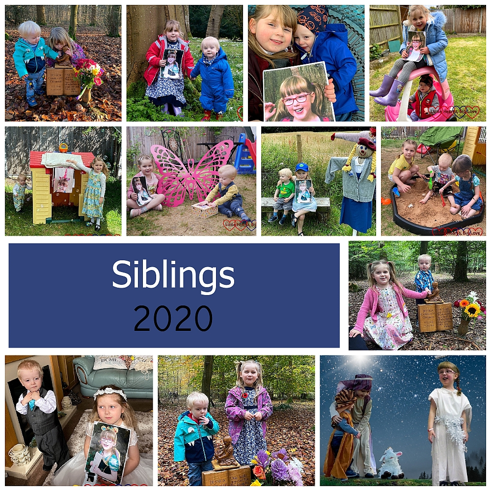 "A collage of siblings photos from the year - ""Siblings 2020"""