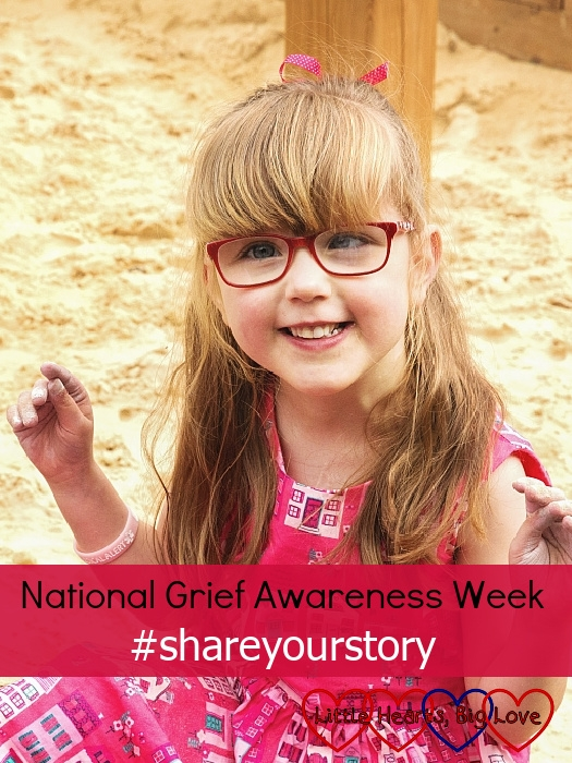 "A smiley Jessica sitting in a big sandpit - ""National Grief Awareness Week - #shareyourstory"""
