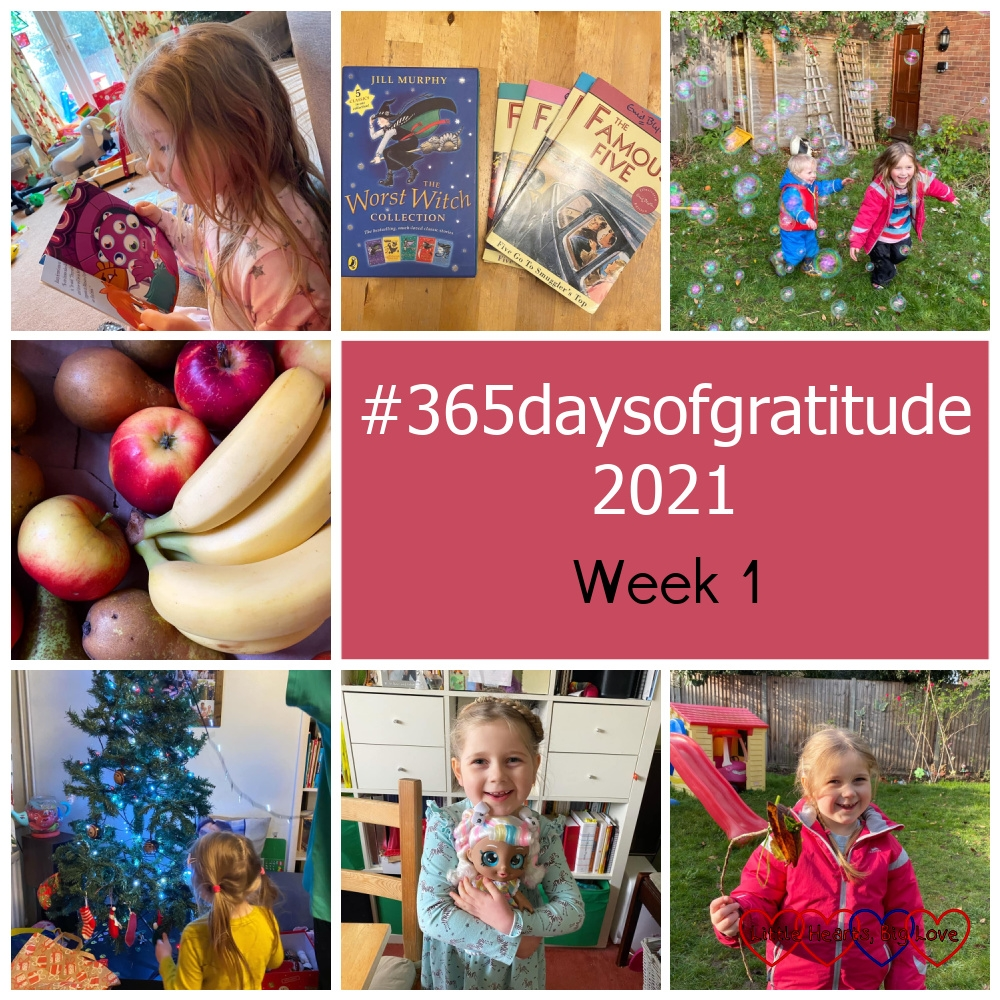 "Sophie reading a book; A box of 'The Worst Witch' books and a selection of 'The Famous Five' books; Sophie and Thomas popping bubbles in the garden; a box of apples, pears and bananas; Sophie taking decorations off the Christmas tree; Sophie with her Marsha Mello Kindi Kid doll; Sophie waving her nature wand - ""#365daysofgratitude 2021 - Week 1"""