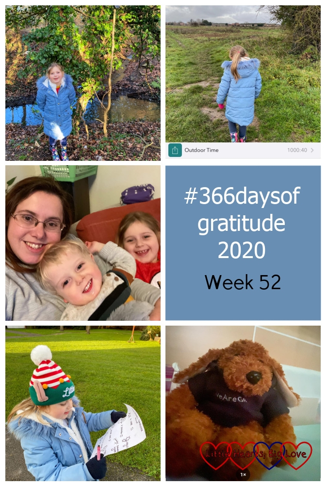 "Sophie standing in front of a stream; Sophie on a walk outside with my timer for outdoor time showing 1000 hours and 40 minutes; me, Sophie and Thomas snuggling on the sofa; Sophie wearing an elf hat, doing a scavenger hunt; Jessica's toy dog Rosie - ""#366daysofgratitude - Week 52"""