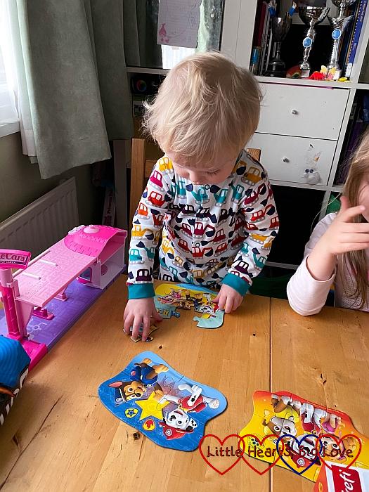 Thomas putting together a PAW Patrol jigsaw