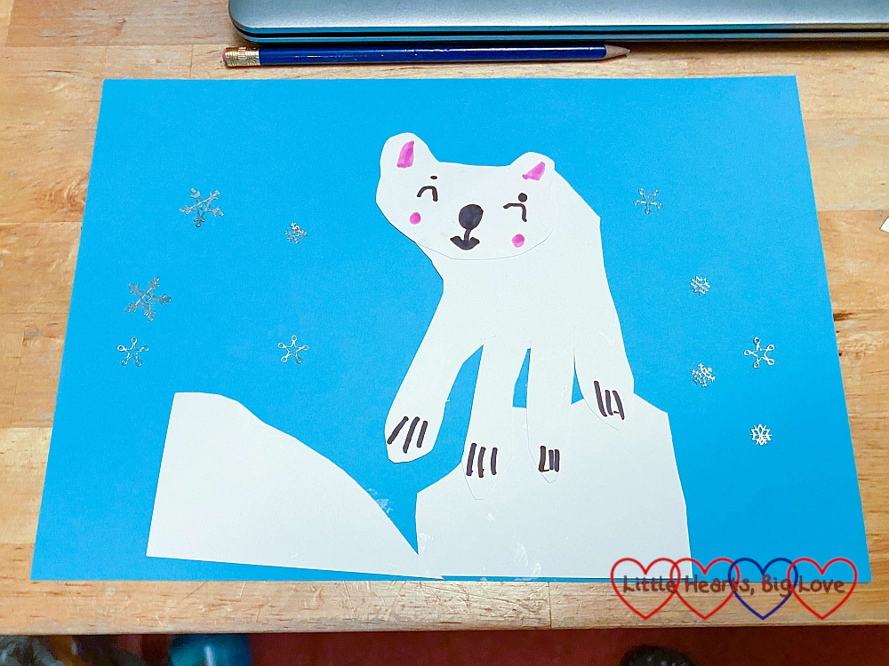 Sophie's picture of a polar bear on a ice boulder