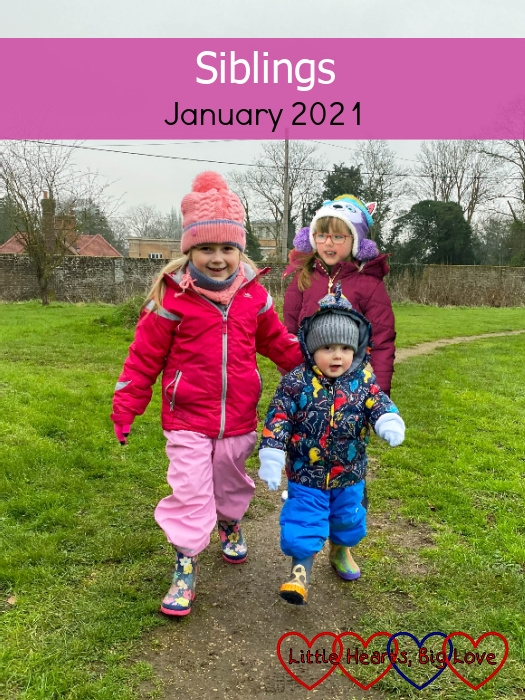"""Sophie and Thomas out for a walk with Jessica behind them - """"Siblings - January 2021"""""""