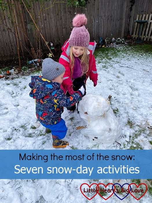 """Sophie and Thomas building a snowman - """"Making the most of the snow: seven snow-day activities"""""""