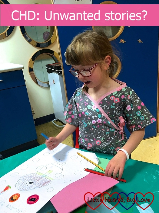 """Jessica in the playroom on the cardiac ward colouring in her sticker book - """"CHD: Unwanted stories?"""""""