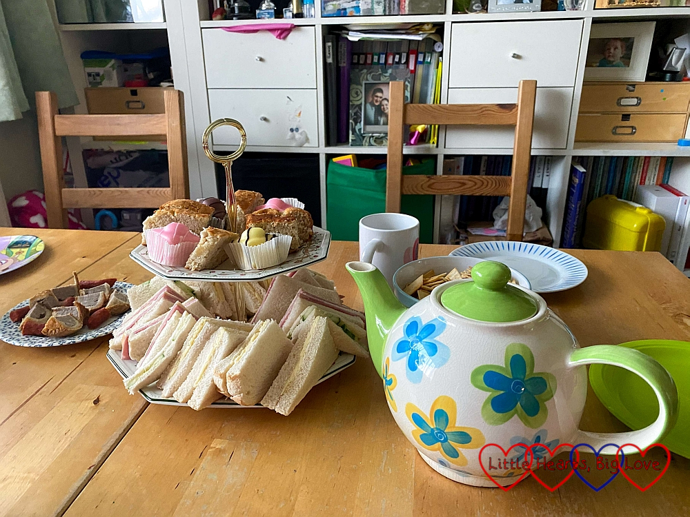 Afternoon tea set out on the table