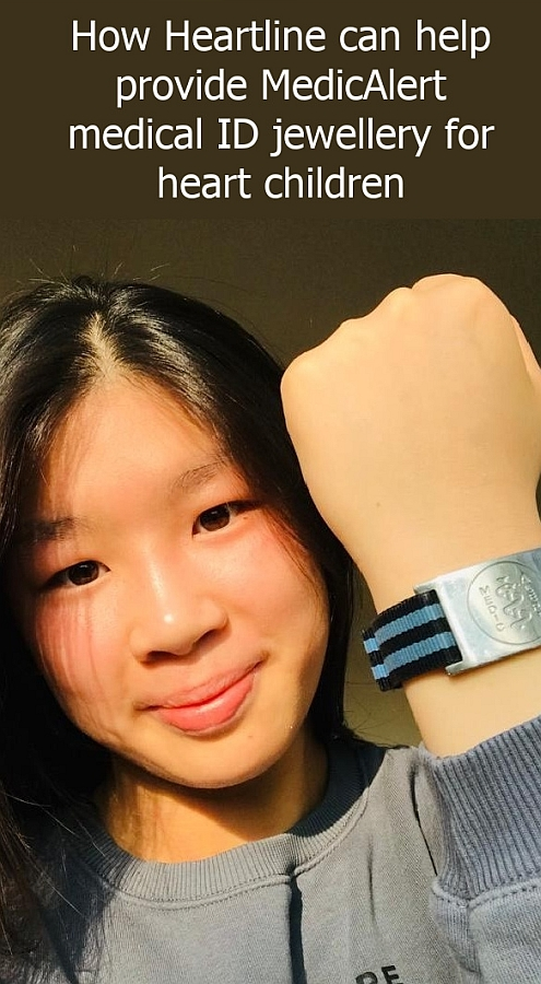 "A girl holding up her arm to show her MedicAlert bracelet - ""How Heartline can help provide MedicAlert medical ID jewellery for heart children"""