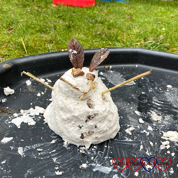 Sophie's mini snowman made with fake snow