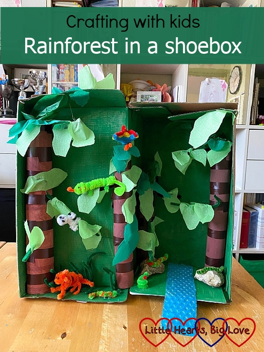 "A rainforest in a shoebox with pipe cleaner animals - ""Crafting with kids: rainforest in a shoebox"""