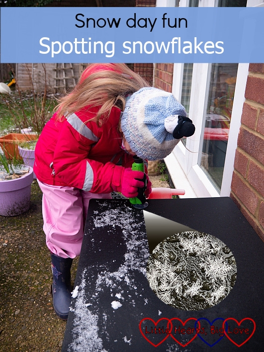 "Sophie taking a closer look at the snowflakes with her travel microscope - ""Snow day fun: spotting snowflakes"""