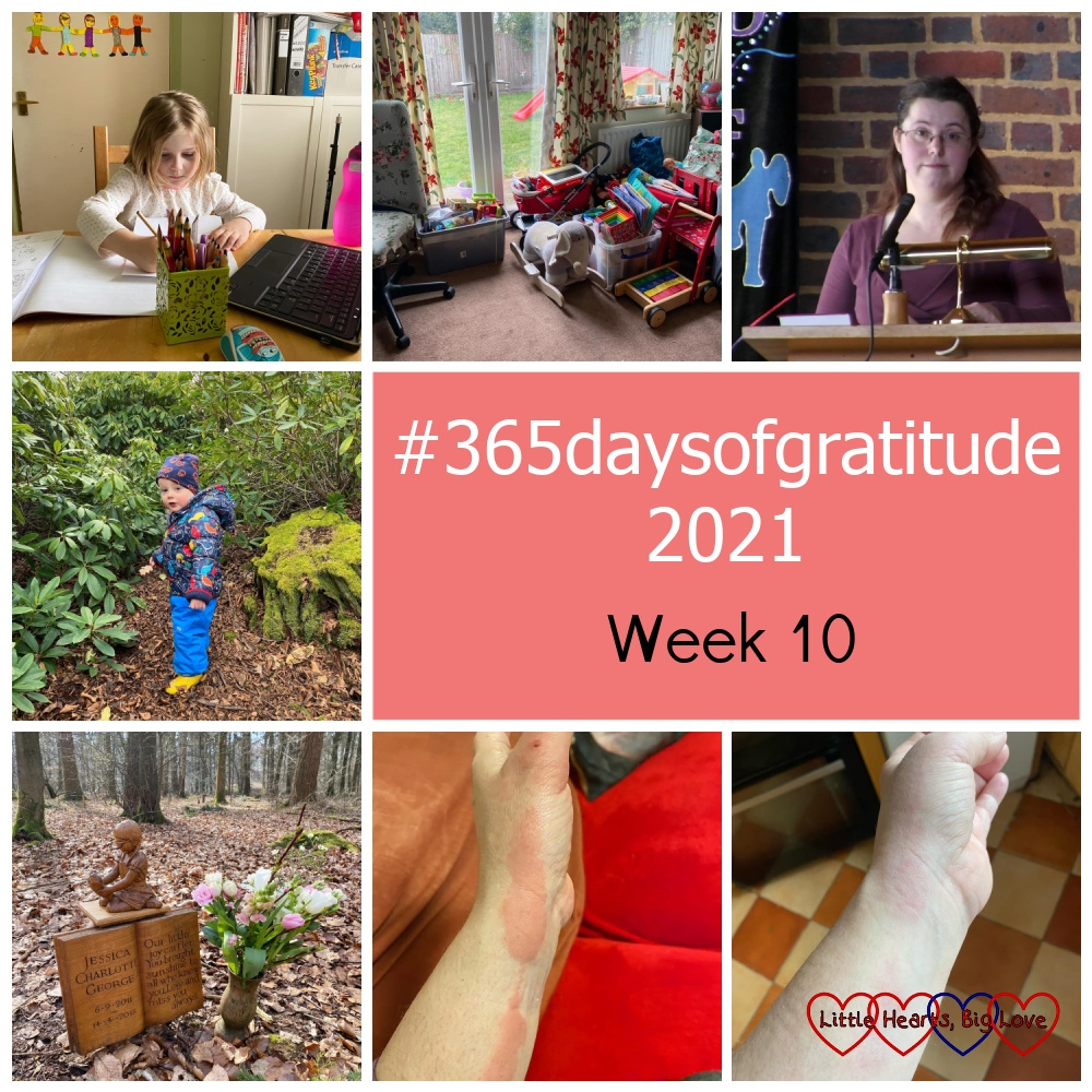 """Sophie doing her school work; tidy toys in my living room; me doing a reflection for the church service; Thomas at Langley Park; pretty pink and white flowers at Jessica's forever bed; my arm covered in red itchy hives; my arm looking much less red and itchy - """"#365daysofgratitude 2021 - Week 10"""""""