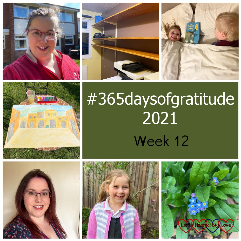 """Me wearing my new glasses; shelves in the study; Sophie and Thomas in my bed with the book 'Wonky Donkey', a painting of a Biblical street scene; me with red hair; a smiley Sophie in the garden; forget-me-nots - """"365daysofgratitude 2021 - Week 12"""""""