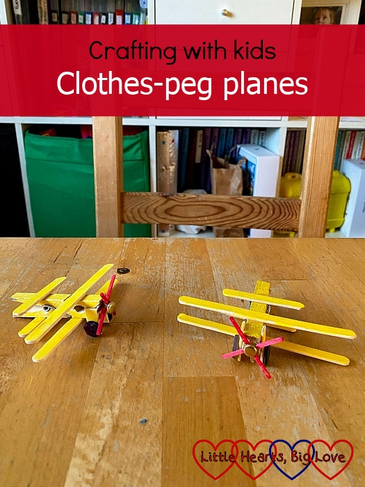 """Two yellow planes made from clothes pegs and craft sticks - """"Crafting with kids - clothes-peg planes"""""""