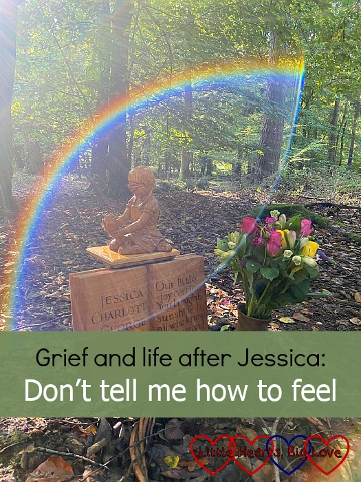 """Jessica's memorial with the light making a rainbow around her - """"Grief and life after Jessica: Don't tell me how to feel"""""""