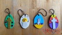 Four Easter egg decorations made from craft foam