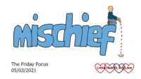 The word 'mischief' with a doodle of Thomas sitting on the 'f' holding a bottle of oil upside down with it dripping down and creating a puddle