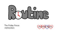 The word 'routine' with a clock as the 'o'