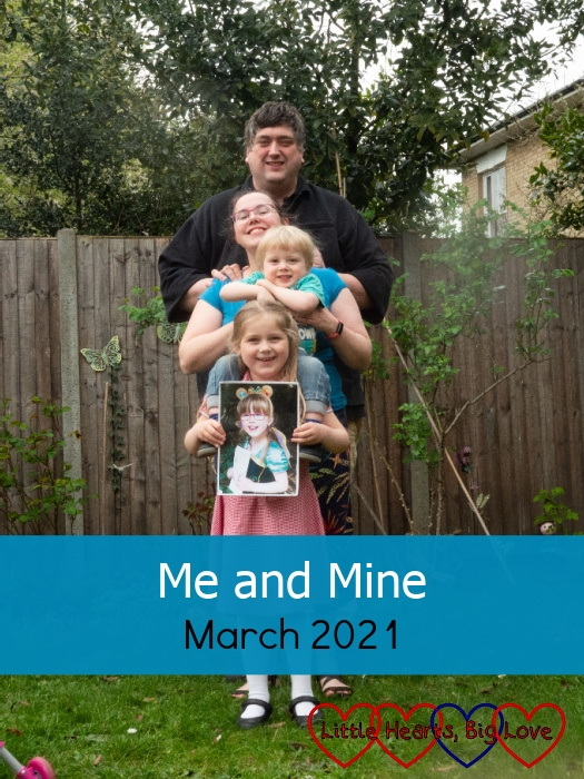 """(top-bottom) Hubby, me, Thomas and Sophie holding a picture of Jessica - """"Me and Mine - March 2021"""""""