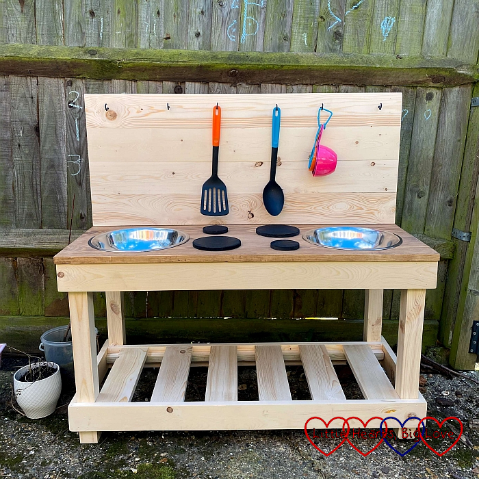 Our new mud kitchen before being painted