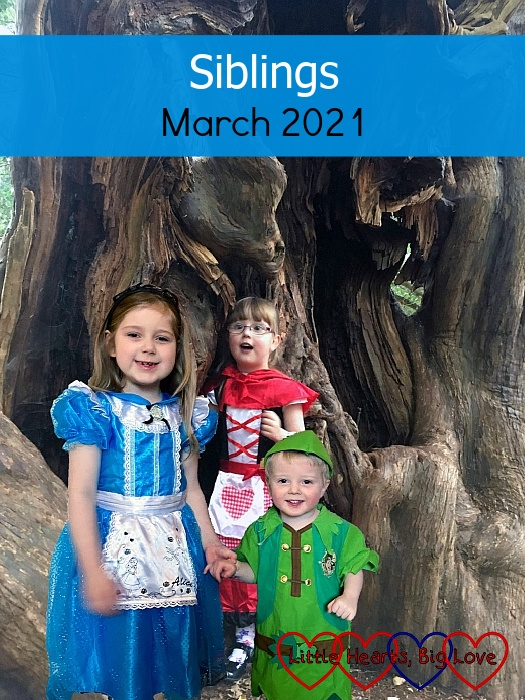 """Sophie (dressed as Alice in Wonderland), Thomas (dressed as Peter Pan) and Jessica (dressed as Little Red Riding Hood) with a tree in the background - """"Siblings - March 2021"""""""