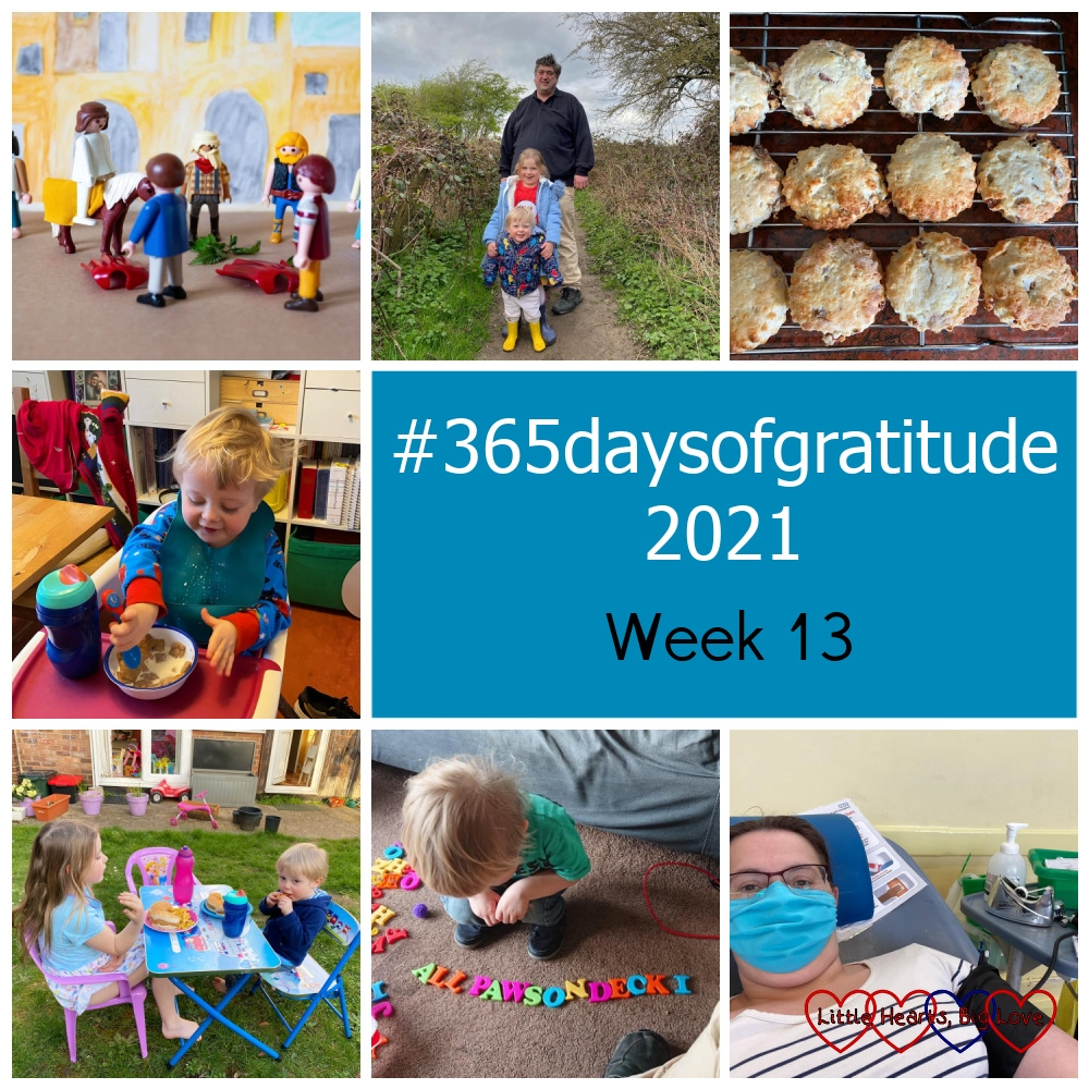 """A Playmobil scene depicting Jesus riding into Jerusalem on a colt; hubby, Sophie and Thomas out on a walk; cheese and bacon scones cooling on a wire rack; Thomas eating breakfast; Sophie and Thomas eating dinner in the garden; Thomas spelling out 'All Paws on Deck!"""" with his magnetic letters; me giving blood - """"#365daysofgratitude 2021 - Week 13"""""""