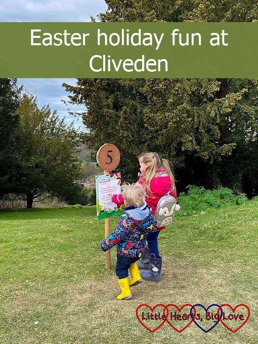 """Sophie and Thomas at the number 5 marker on the Easter trail - """"Easter holiday fun at Cliveden"""""""