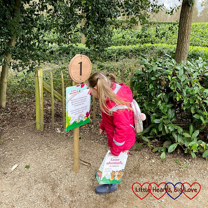 Sophie reading the board at the number 1 marker on the Easter trail